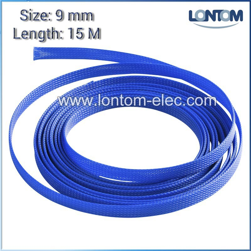9mm 15M Blue PET Braided Expandable Sleeving Wire Cable Sleeve ...