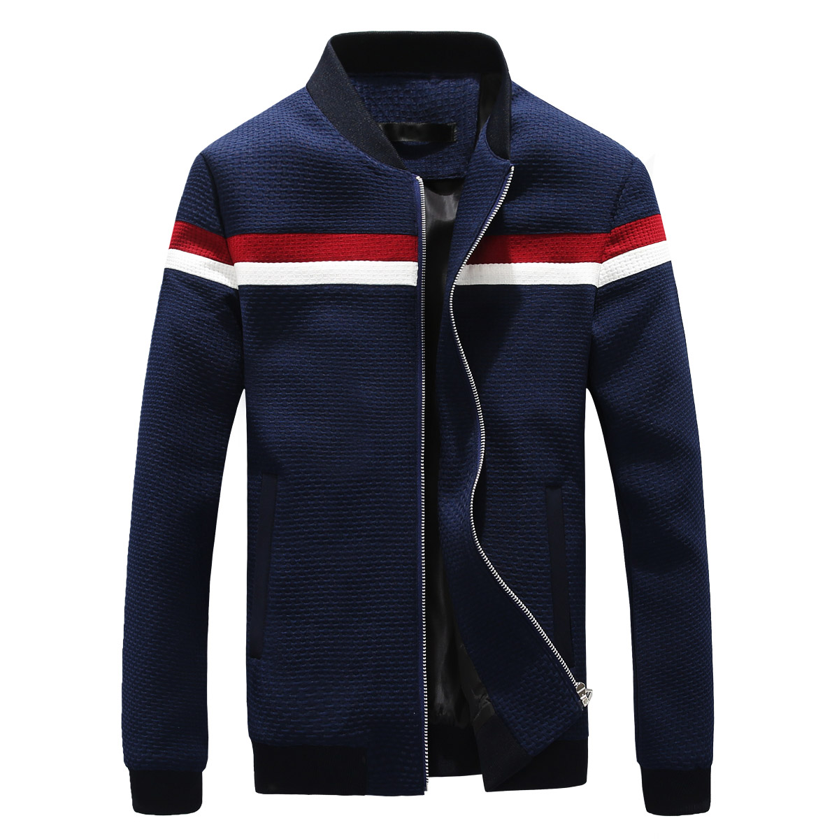 Spring Casual Baseball Jacket Men <font><b>Crewneck</b></font> Zipper Coats Striped Fashion Streetwear Slim Fit Male Bomber Jacket Cadigans Yeezy