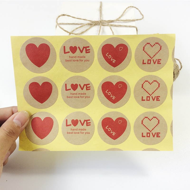 120PCS Vintage Romatic Love Heart Series Round Kraft Paper Sticker For Handmade Products  Gift Sealing Packaging Label