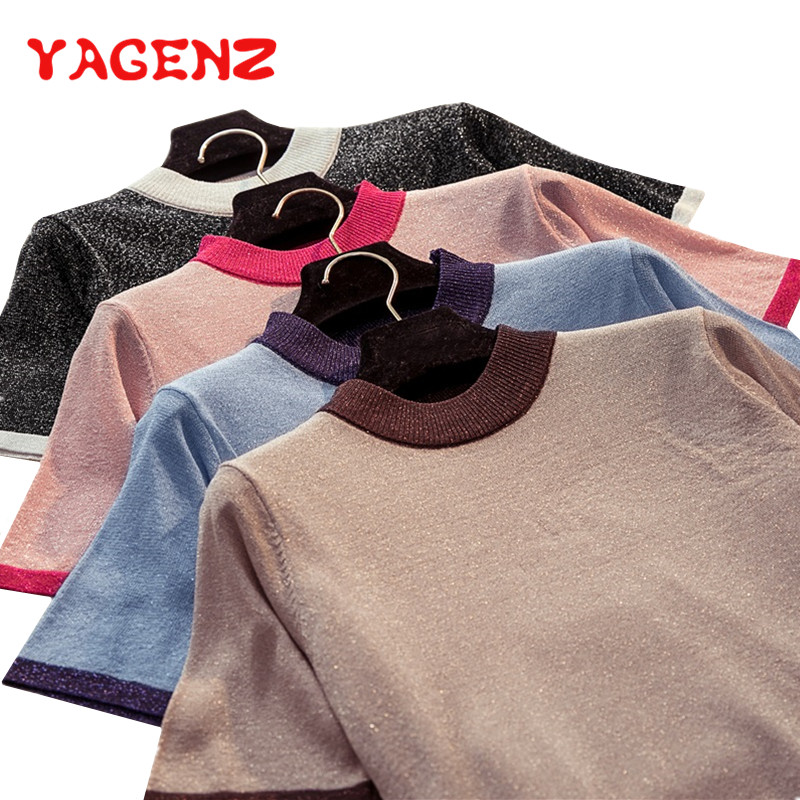 YAGENZ Pullover Sweater Short-Sleeve Bottoming O-Neck Women Knit Bbright Summer Silk