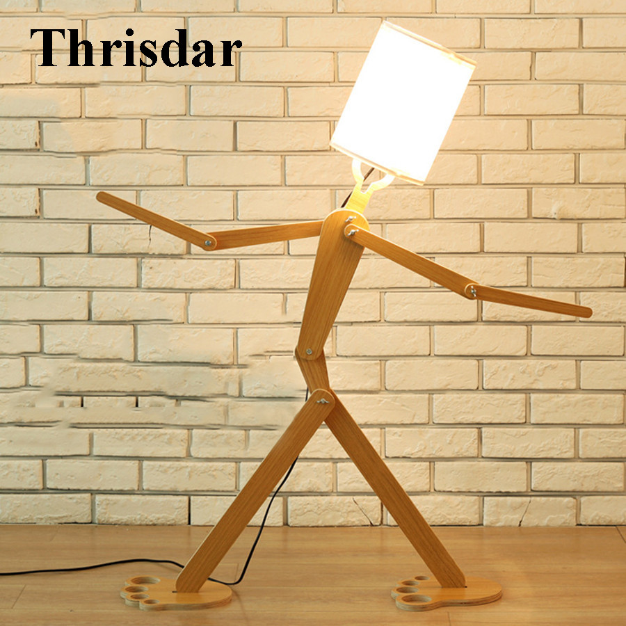 Здесь продается  Thrisdar DIY Flexible Robot Wooden Floor Stand Lamp With E27 Bulb Creative Fabric Stand Light For Living Room Bedroom Study Room  Свет и освещение