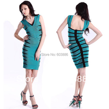 V-ausschnitt Bandage Kleid Bodycon Kleid Cocktail Party Kleid Blau HL052 # XS S M L