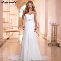 2019 Hot Selling A Line chiffon Wedding Dresses Beading Vestido de Noiva Long cheap crystal Robe De Mariage With Pleats
