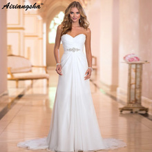 2019 מכירה לוהטת קו שיפון שמלות כלה ואגלי Vestido דה Noiva ארוך זול קריסטל Robe De Mariage עם קפלים