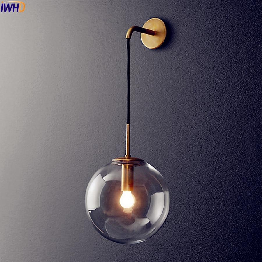 Nordic Modernen LED Wandleuchte Glaskugel Badezimmerspiegel Neben Amerikanischen Retro Wandleuchte Wandlamp Aplique Murale