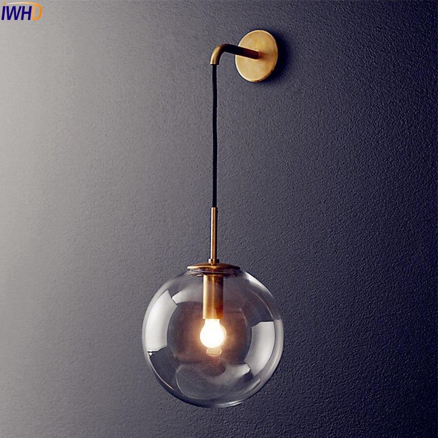 Nordique Moderne LED Mur Lampe Boule De Verre Salle De Bains Miroir À Côté Américain Rétro Wall Light Applique Wandlamp Aplique Murale