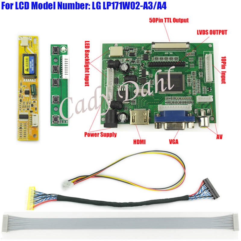 HDMI VGA 2AV Controller Board + Backlight Inverter + 30P Lvds Cable for LP171W02 - A3A4 1680x1050 2ch 6 bit LCD Display Panel