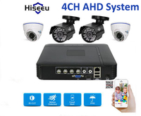 Hiseeu HD 4CH 1080N 5in1 AHD DVR Kit CCTV System 4pcs 720P AHD Mixed Dome Waterproof