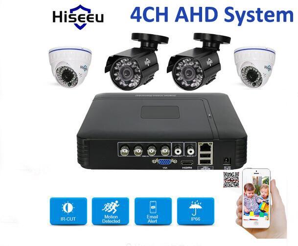 Hiseeu HD 4CH 1080N 5in1 AHD DVR Kit CCTV System 4pcs 720P AHD Mixed Dome Waterproof