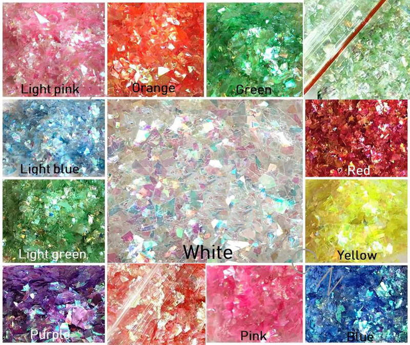 20g  Ab Holographic Nail Art Glitter Shell Flakes nail art Unicorn Crushed mylar mermaids flakes Broken Glass Mirror flakes,HJ76