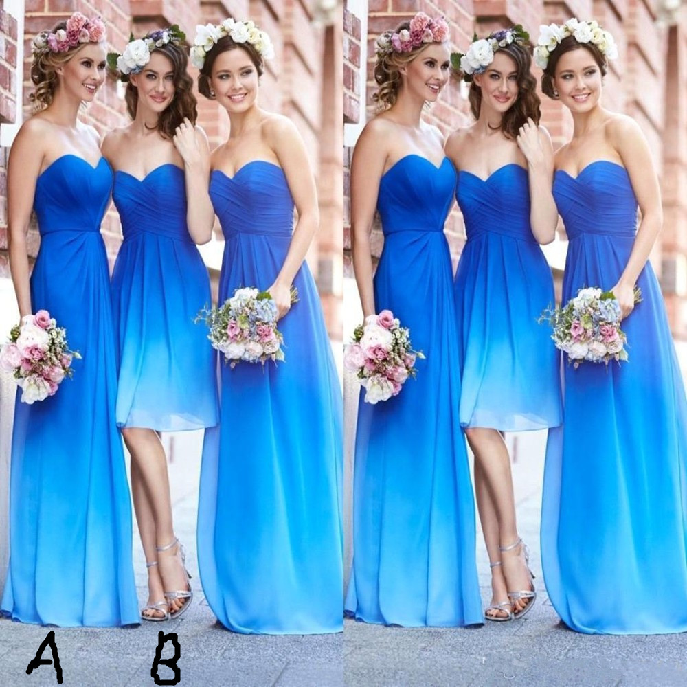 Popular ocean blue bridesmaids dresses buy cheap ocean blue gradient color bridesmaid dresses ocean blue sweetheart pleats chiffon a line beach wedding party dresses ombrellifo Choice Image