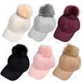 Women Unisex Baseball Cap Suede fabric Faux Buckskin Pom Pom Ball Suede Adjustable 6Colors Fashion Warm Baseball hat