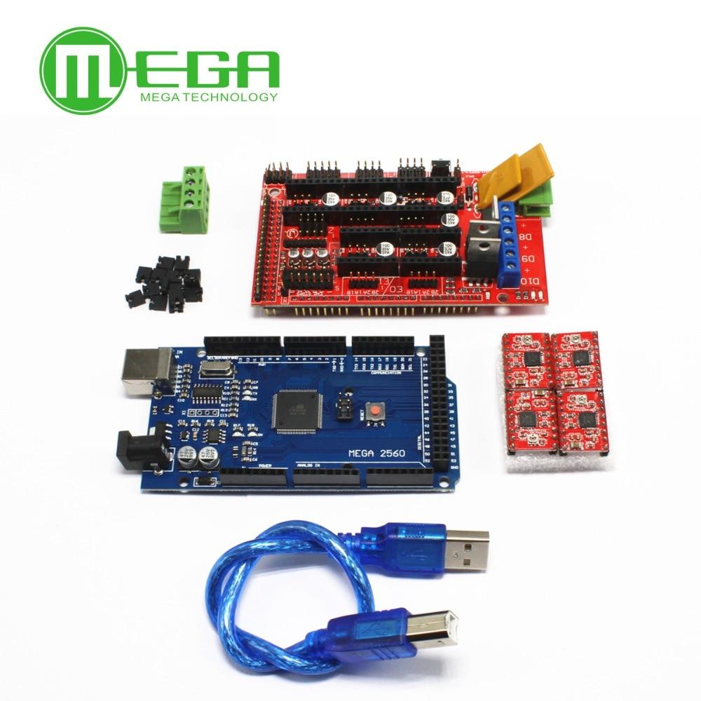 Mega 2560 R3 + 1pcs RAMPS 1.4 Controller + 4pcs A4988 Stepper Driver Module for 3D Printer kitMega 2560 R3 + 1pcs RAMPS 1.4 Controller + 4pcs A4988 Stepper Driver Module for 3D Printer kit