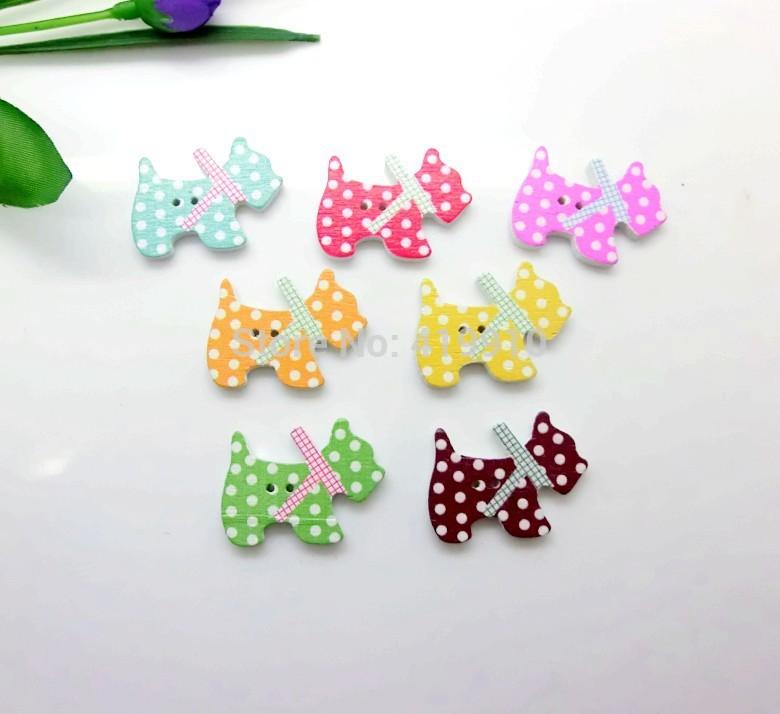 Free shipping 50 Random Mixed 2 Holes Pattern South Korea Dog ...