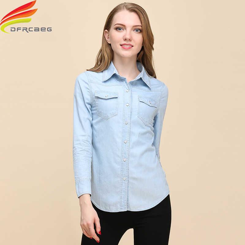 6833b7394cbded8 Новинка 2018 г. весенние женские Джинсовая рубашка модные Стиль  повседневные рубашки с длинными рукавами женская