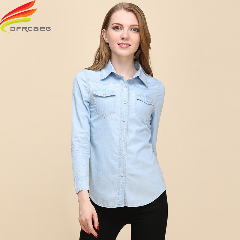 Жаңа 2018 көктемгі әйел Denim Shirt Fashion Style Long Sleeve Casual Shirts Әйелдер 2 Colors Blouses Plus Size Blusa Jeans Feminina