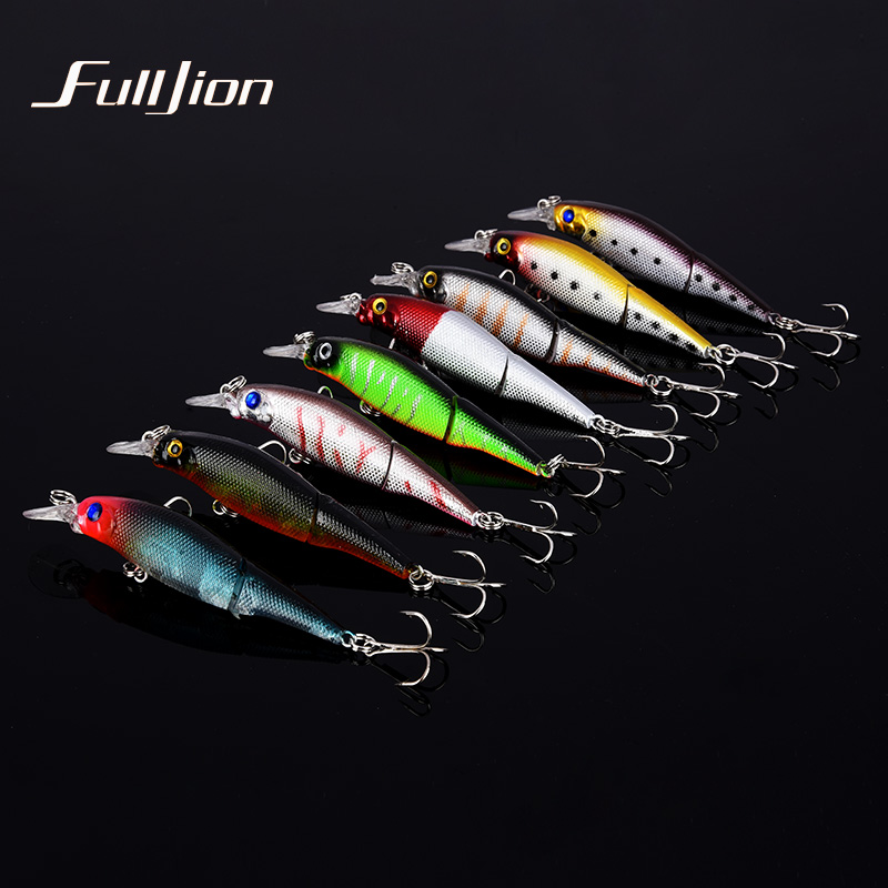 Fulljion 1pcs Fishing Lures Wobblers Minnow Artificial Baits Treble Hooks Crankbait Fishing Tackle 2 Sections Lures 9.2cm 7.5g wldslure 1pc 54g minnow sea fishing crankbait bass hard bait tuna lures wobbler trolling lure treble hook