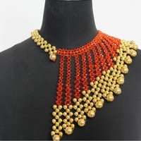 4UJewelry Orange Crsytal Bridal Jewelry Sets For African Women Dubai Gold Jewellery Handmade Tassel Style Gift Set Free Shipping