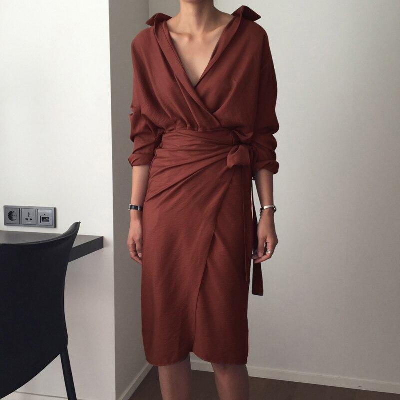 CHICEVER Bow Bandage Dresses For Women V Neck Long Sleeve High Waist Women's Dress Female Elegant Fashion Clothing New 19 19