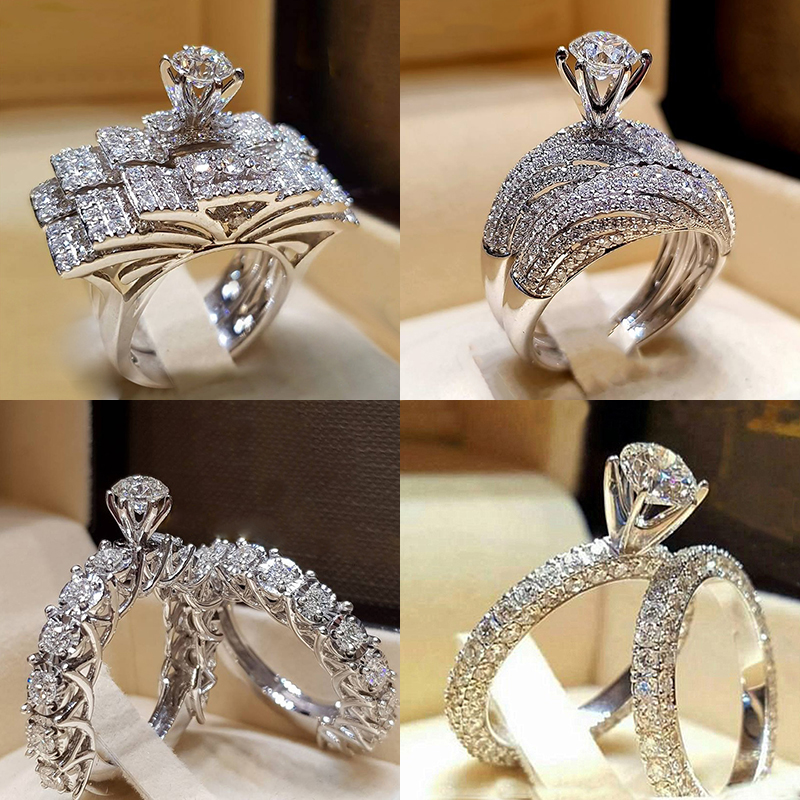 2Pcs Bridal Set Elegant rings for Women Sliver Color Wedding Engagement fashion Jewelry With Full Shiny Cubiz Zircon female ring(China)