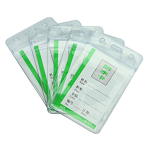 Practical 5pcs Waterproof Clear PVC Badge Working Exhibition ID Name Card Holders