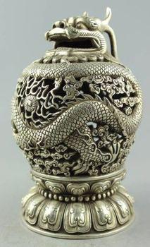 Exquisite Bella Cina Tibetano Silver Dragon Censer