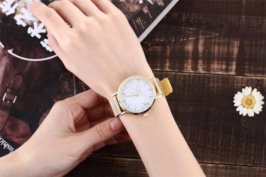Vansvar Fashion Silver And Gold Mesh Wrist Watch
