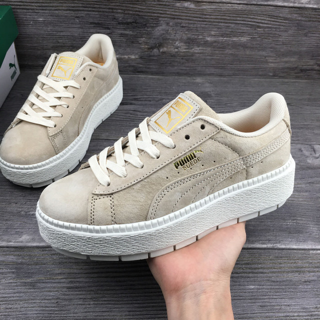 96bf6837cec0 2018 New PUMA x FENTY Suede Cleated Creeper Women s Fourth Generation  Rihanna Classic Basket Suede Tone Simple Badminton Shoes