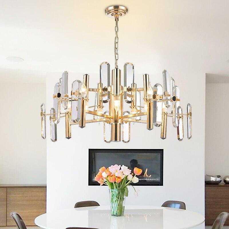 Lujoso decorativo alta calidad 8/10 luces cabezas K9 candelabros de cristal colgante D60/80 cm oro araña de cristal de hierro Luz