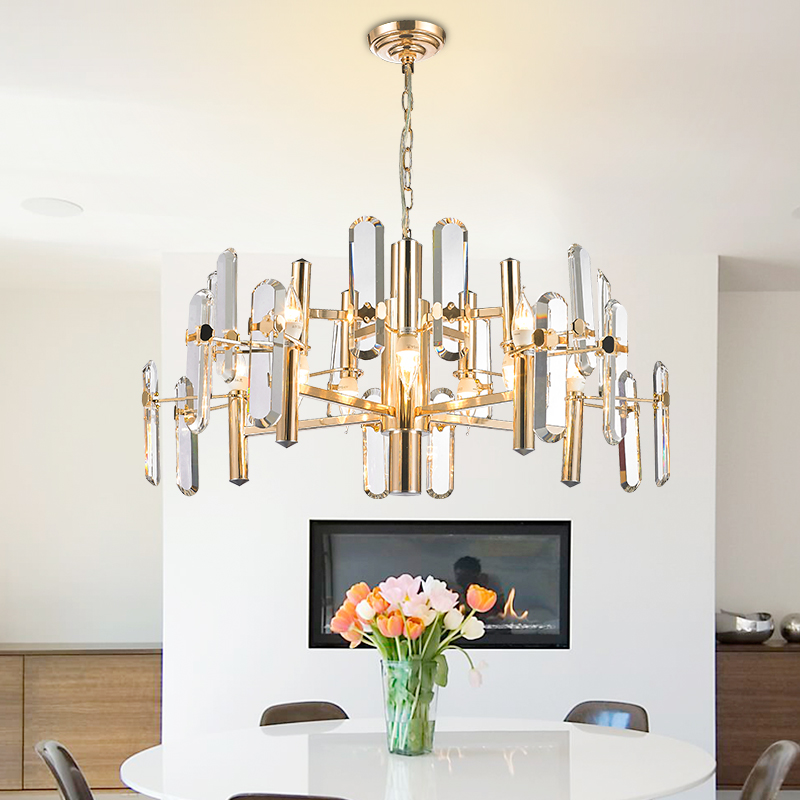 Luxurious Decorative High quality 8/10 lights heads K9 crystal chandeliers pendant D60/80cm gold iron crystal chandelier light