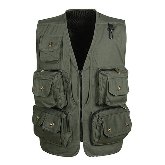 Hot Sale Multifunctional Men Vest Breathable Mesh Photography Vest Waistcoats Men's V-Neck Coat Zipper Sleeveless Jackets