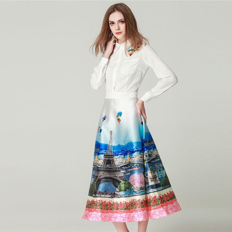 GooliShowsi women designer runway 2019 spring Summer long Sleeve scenery Print bohemian dress white Dresses robe femme Vestidos-in Dresses from Women's Clothing    3