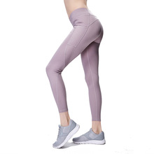 Pocket Solid Sport Yoga Pants High Waist Mesh Leggings Women Fitness Training Running Sportswear