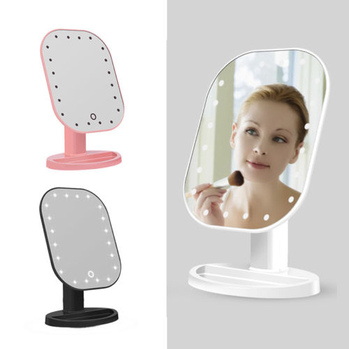 USB Makeup Mirror with 20 LEDs Cosmetic Mirror with Touch Dimmer Switch Battery Operated Stand for Tabletop Bathroom Bedroom