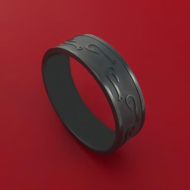 Drop shipping Hot Sale Black Fish Hook Design Ring Custom Made Fishing Band Black Friday New Years gift