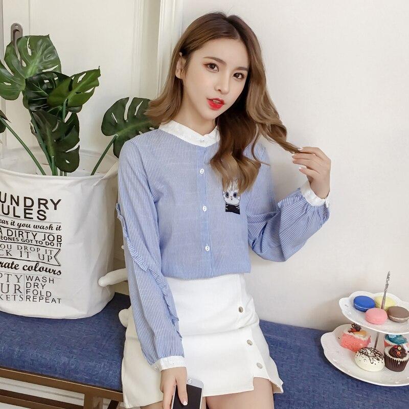 Manches Col À Blouses Tops Et Brodé Rayée Chat 45 Bleu Automne Chemise Longues Stand Mode Style Coréenne Nouveau Femmes 2019 1378 6vqOO