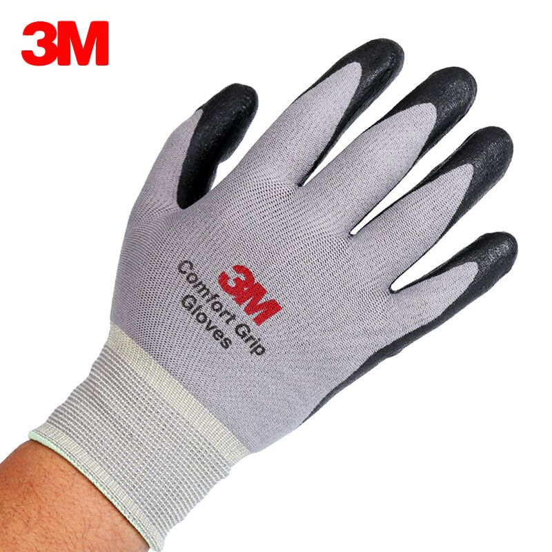 2 pairs 3M Safety Working Gloves Comfort Grip Gloves Nitrile Foam Coated Non-slip Wear-resistant Work Protective Gloves M/L/XL nmsafety fashion high quality work safety gloves protective gloves rubber good grip work gloves