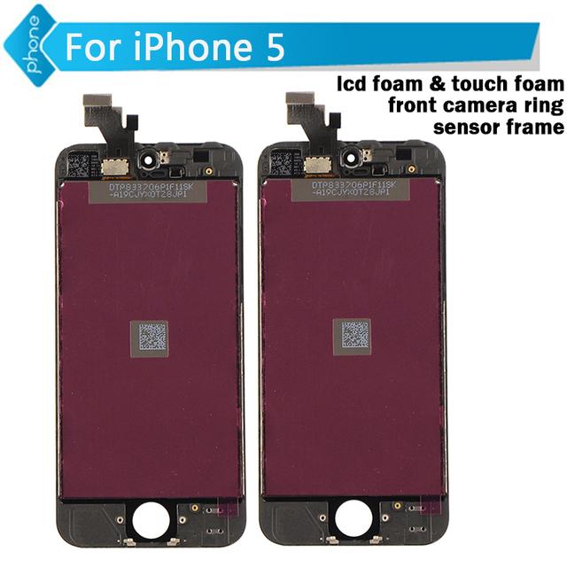 Para iphone 5 lcd pantalla táctil digitalizador asamblea lcd + espuma + espuma + anillo de cámara frontal táctil + sensor de marco Negro Blanco