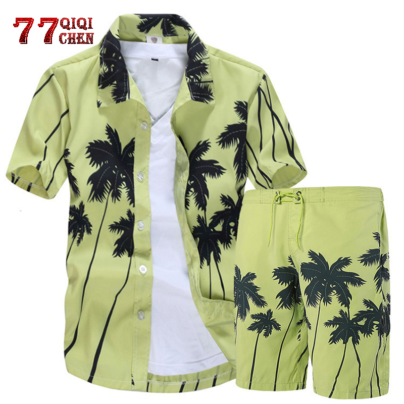 Mens Hawaiian Shirts Set 2020 Floral Shirts Men +Print Beach Shorts Short Sleeve Tracksuit Fashion Summer Male Sets Ropa Hombre