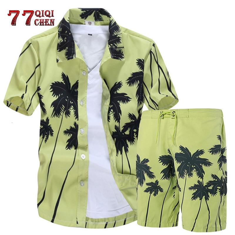 Mens Hawaiian Shirts Set 2020 Floral Shirts Men +Print Beach Shorts Short Sleeve Tracksuit Fashion Summer Male Sets Ropa Hombre