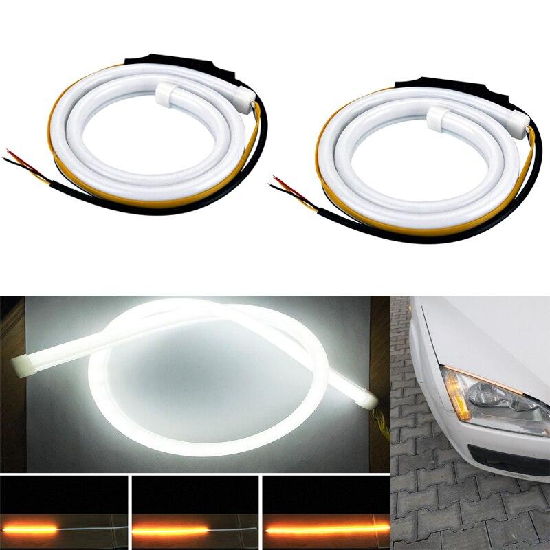 2x Ultrafine Waterproof DRL 45cm Daytime Running Light Flexible Soft Tube Guide Car LED Strip White Turn Yellow цена