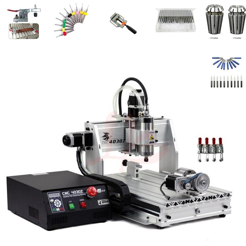 800 W broche 4 axe mini bricolage tour cnc gravure machine de forage 3040 port usb routeur de bois avec cutter pince pince étau