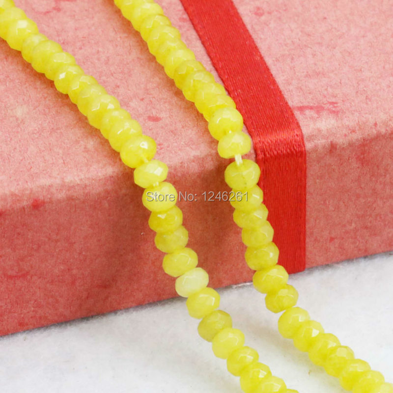 Fashion <font><b>2x4mm</b></font> Chalcedony Girl Accessories Jewelry making Design Gifts Faceted Yellow Abacus Loose Beads DIY <font><b>Natural</b></font> <font><b>Stone</b></font> 15inch image