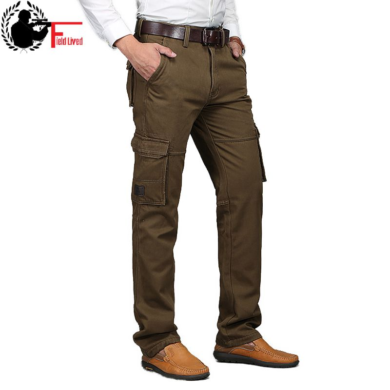 Autumn Mens Cargo Pants Leisure Tool Many Pocket with Zipper Military Style Army Jogger Male Straight Trousers Big Size 40 42 44 pocket
