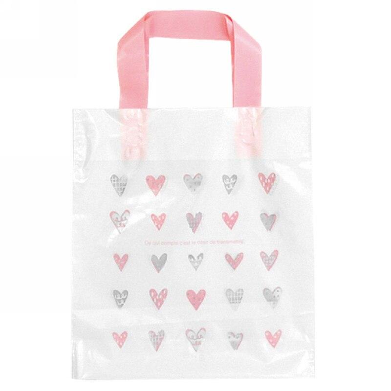 25 шт./лот розовый «любящее сердце» портативный выпечки пищевая упаковка пластиковый мешок с сумочкой Вышивка Крестом Пакет Костюмы обувь с...