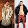 Mens Real Fur Coat North Winter Faux Fur Outwear Windbreaker Both Side Coat Men Punk Parka