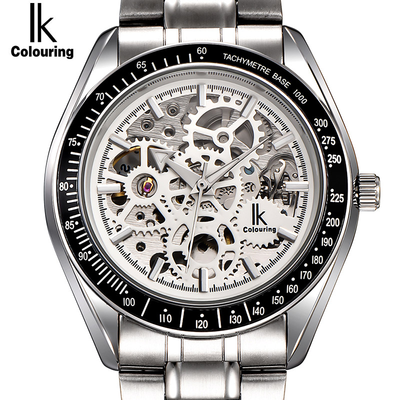 IK colouring Full Steel Luminous Automatic Mechanical Watches Men Brand Luxury Transparent Hollow Skeleton Military Dress Watch ik colouring men automatic self wind mechanical watches full steel moon phase fashion casual digital sports watch