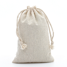 "50 3.9""x5.9"" Plain Calico Cotton Muslin Drawstring"