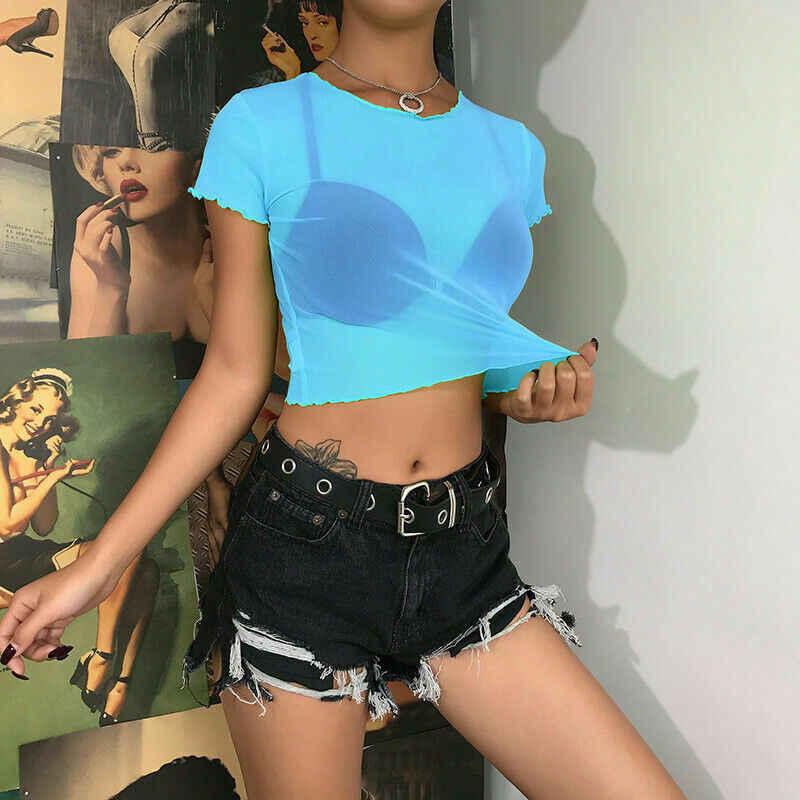 Frauen Sheer Mesh Fisch Net Kurzarm Bodycon Sehen Crop Top T-Shirt Bluse