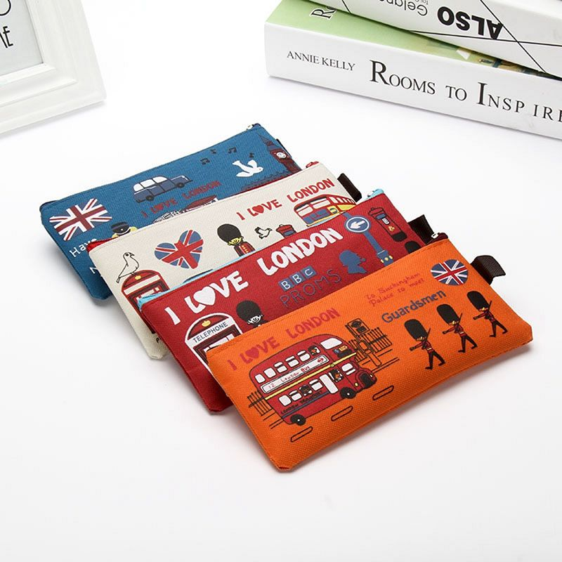 London style Pencil Pen Case Cosmetic Makeup Bag Pouch Holder Women Cosmetic Bags Fresh purse zipper Coin case Free Shipping retro stripe pencil pen case cosmetic pouch pocket brush holder makeup bags life style pencil bag pen box